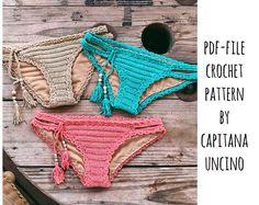 PDF-file for Crochet PATTERN, Marina Crochet Bikini Bottom, Basic, with more coverage, Sizes XS,S,M,L