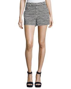 Calila Chevron-Print Shorts, Black/White