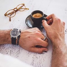 Owner's pics :camera:: @shaunbirley enjoying a coffee with our Portsea calendar in blue to keep him company.  #melbournewatch #watchaddict #horology #wornandwound #australian #watchfam #timeandtide #practicalwatch