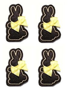 Chocolate Bunny applique embellishment felties by EmbroiderThat, $4.60