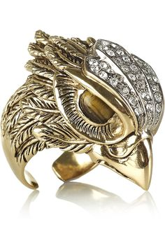 Roberto Cavalli Gold-plated Swarovski crystal eagle ring