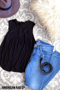 Turn up your school style with a chic black high-neck lace top and high-waist jeans. A black studded belt and gray felt hat can take your look after school too!