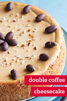 Double Coffee Cheesecake – Instant coffee and coffee-flavored liqueur give this creamy graham cracker-crusted cheesecake recipe a cappuccino flair. This delicious dessert is ready to bake in only 20 minutes.