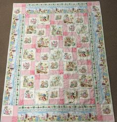 rabbit bunny quilt fabric cotton printed pastels country home 12 8 inch panels