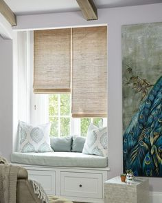 Wendy bellissimo natural woven waterfall shades from smith for Smith and noble bamboo shades