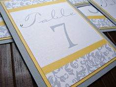 Damask Yellow and Grey Wedding Table Numbers with by invitesbyjen, $30.00