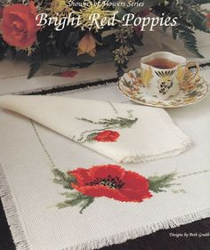 Poppies Cross Stitch Pattern Chart - Bright Red Flower and Bud - Remembrance Day