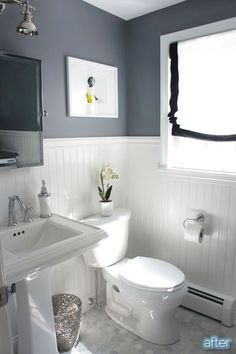 Bathroom Makeover. Love the wall color & board and batten together. Paint is Benjamin Moore Rock Gray.