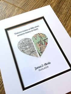 The perfect thoughtful gift or personal memento. This personalized map makes the perfect gift with custom map location, text & quote. Our artwork is created by inlaying your personalized map inside a shape cut from premium cardstock papers. These are so much more than just art prints!!! Unique Wedding Gifts, Personalized Wedding Gifts, Bridal Gifts, First Anniversary Gifts, Paper Anniversary, Long Distance Relationship Gifts, Distance Relationships, Wedding Vow Art, Heart Map