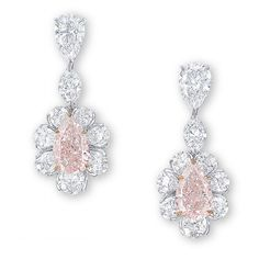 Earrings Each Set With A Pear Shaped Fancy Pink Diamond Weighing 4 03 And 01 Carats