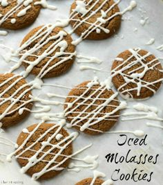 Iced Molasses Cookie Recipe are rich, sweet, soft and chewy molasses cookies that are drizzled with a simple icing for a little extra sweetness. Best Christmas Cookie Recipe, Christmas Cookie Exchange, Holiday Cookies, Christmas Recipes, Holiday Treats, Molasses Cookies, Baking Recipes, Cookie Recipes, Food Cakes