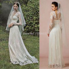Fashionable Deep V Neck Sheer Long Sleeve Wedding Dresses Lace 2015 Latest Design Bridal Gowns Appliques
