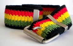 Africa Rasta stripes strong crochet cotton belt for men and women with metal buckle by MultiKultiCrafts