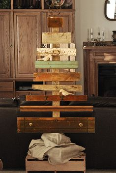 I so want to make this christmas tree out of old drawers, boards etc! How awesome!