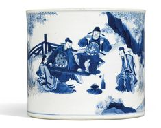 A Blue and White 'Seven Sages of the Bamboo Grove' Brushpot, Bitong, Qing dynasty, Kangxi period Blue And White China, Blue China, Chinese Painting, Chinese Art, Japanese Porcelain, White Porcelain, Johann Wolfgang Von Goethe, Pottery Marks, Asian Love