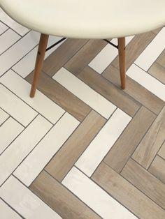 Tile Inspiration - Mad About The House Wooden Floor Tiles, Porcelain Wood Tile, Herringbone Tile Pattern, Wooden Pattern, Bathroom Tile Designs, Bathroom Design Small, Modern Tropical House, Transition Flooring, Wood Effect Tiles