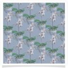 orchid in blue and white pot backing paper blue