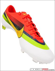 This is a nice, orange, yellow, green, blue, white trainer to play football. It has a yellow dove and her name is Nike Mercurial Vapor IX CR FG Soccer Cleats. It has a price of two thusand and two hundred