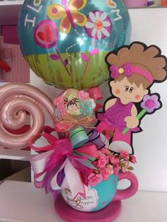 Candy Bouquet, Balloon Bouquet, Mothers Cookies, Best Gift Baskets, Teacup Crafts, Creative Gifts, Diy For Kids, Diy And Crafts, Balloons