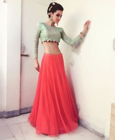 Natasha tankovic # cropped top look # fashion # lehenga