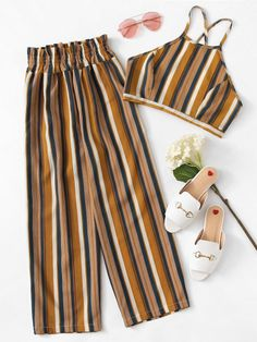 Criss Cross Back Striped Cami With Pants -SheIn(Sheinside) Source by zoemilon outfits curvy Cute Girl Outfits, Retro Outfits, Cute Casual Outfits, Stylish Outfits, Girls Fashion Clothes, Summer Fashion Outfits, Fashion Fashion, Pantalon Long, Ideias Fashion