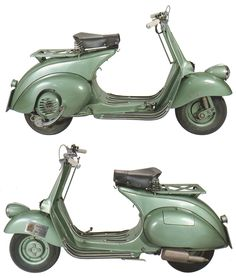 Development of what would become the Vespa began in 1944, but Enrico Piaggio was dissatisfied with the early prototype (the MP5,above). Description from curbsideclassic.com. I searched for this on bing.com/images