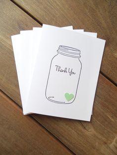 Mason Jar Thank You Card-Rustic Thank You Card-Spring Card-Mint Green Wedding Thank You Card-by Lemon Drops & Lilacs on etsy.com