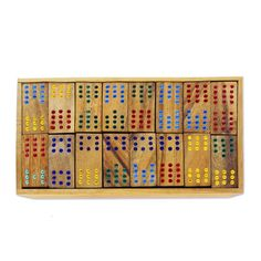 Bloomsbury Market Charlo Colorful Dominoes Wood Domino Set | Wayfair Table Tennis Conversion Top, Skittles Game, Tabletop Board Games, Interior Design Games, Tic Tac Toe Game, Wooden Boxes, Bloomsbury, Colorful, Artisan