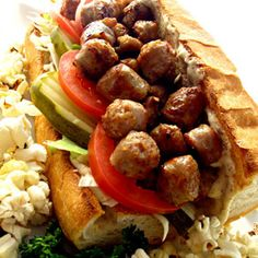 Hot Sausage Po'Boys with Spicy Mustard Sauce.