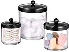 Amazon.com: Premium Quality Apothecary Jars - Clear Plastic Storage Jars with Rust Proof Stainless Steel Lids - Bathroom Vanity Countertop Storage Organizer Canister Holder House Decor | Set of 3 (Black): Home & Kitchen