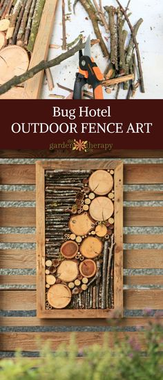 Bug hotel outdoor fence art