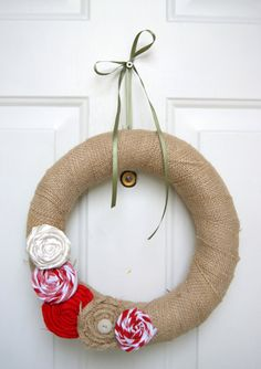 burlap wreath for Christmas .... for pantry door?  avocado green and red?
