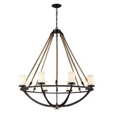 Natural Rope 8 Light Chandelier In Aged Bronze And White Glass 63043-8