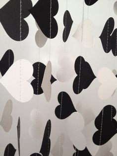 Black White 10 ft Heart Paper Garland Party by ChhaysHandiCraft