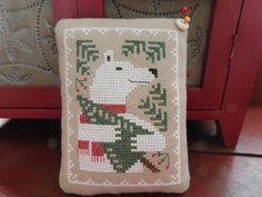 Completed Cross Stitch Polar Bear Pinkeep by pumpkinmoonprims. Prairie Schooler design