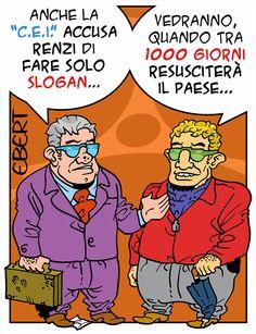 """ITALIAN COMICS - """"Il Mondo in una Vignetta"""" di Ebert: il solito italico costume """"la precipitosa ascesa sul carro del vincitore"""""""