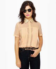 Dusty Peach Sequin Top With Glitter Collar