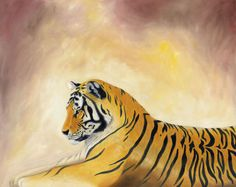 Bengal tiger 5x7 PRINT by painterplace on Etsy, $4.00