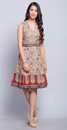39258f12a8 #dress #cotton #kalamkari #print #summer #daydress #women #fashion #chic # Fabindia