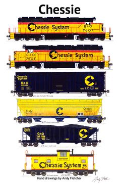 A Chessie train with hand drawings by Andy Fletcher