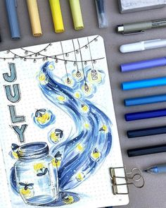 This incredible July cover post is by paperflight.v 💫💙✨ the colours are … This incredible July cover post is by paperflight.v 💫💙✨ the colours are so beautiful! Bullet Journal Cover Ideas, Bullet Journal Spread, Bullet Journal Ideas Pages, Bullet Journal Layout, Journal Covers, Bullet Journal Inspiration, Bullet Journals, August Bullet Journal Cover, Freetime Activities
