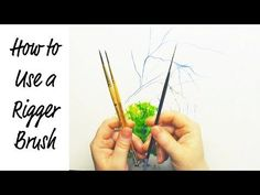 How to Use a Rigger Brush Watercolor Painting Lesson by Jennifer Branch Watercolor Portrait Tutorial, Watercolor Painting Techniques, Watercolor Video, Watercolor Brushes, Watercolour Tutorials, Watercolor Artists, Painting Lessons, Watercolor And Ink, Watercolour Painting