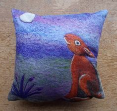 Cushion Digitally Printed with Felted Picture 'Hare Gazing at The Moon' by AileenClarkeCrafts £28
