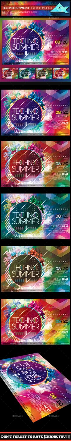 #Techno #Summer II #Photoshop Flyer Template - Events Flyers