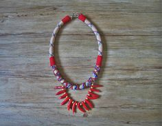 Neo tribal rope statement necklace with coral details by maslinda, $69.00