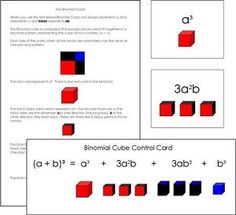 Binomial Cube Cards and Equations from Montessori for Everyone Montessori Homeschool, Montessori Elementary, Elementary Math, Upper Elementary, Homeschooling, Maria Montessori, Montessori Activities, Cubes Math, Math Homework Help