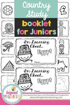 Egypt country study booklet for juniors by Beyond Imagination. Perfect for teaching young ones fun facts about Egypt for a social studies lesson. This Egypt country study booklet includes basic information about:  -The Egyptian flag -The map of Egypt  -Egyptian pyramids  -Egyptian camels  -Egyptian eye make-up (kohl)  -Climate in Egypt  -The Great Sphinx of Giza -Mummification -Egypts favorite sport  -Egyptian currency  -Arabic sayings.