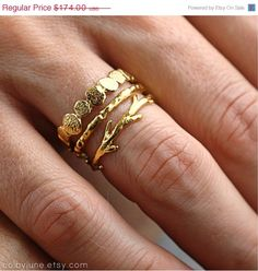 This is one of our most popular nature inspired stacking ring sets! This ring set includes one gold vermeil small pebble ring, one gold vermeil Gold Jewelry, Jewelry Box, Jewelry Accessories, Fashion Accessories, Fashion Jewelry, Jewlery, Flower Jewelry, Flower Bracelet, Flower Necklace