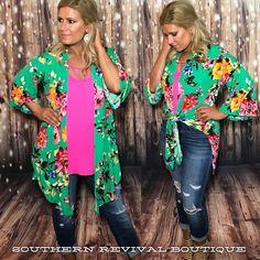 f0d36d59b0 Kelly Green Floral Print Open Kimono