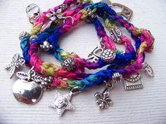 Crochet Triple Wrap Beaded Charm Bracelet / Necklace - Muliticolor ...